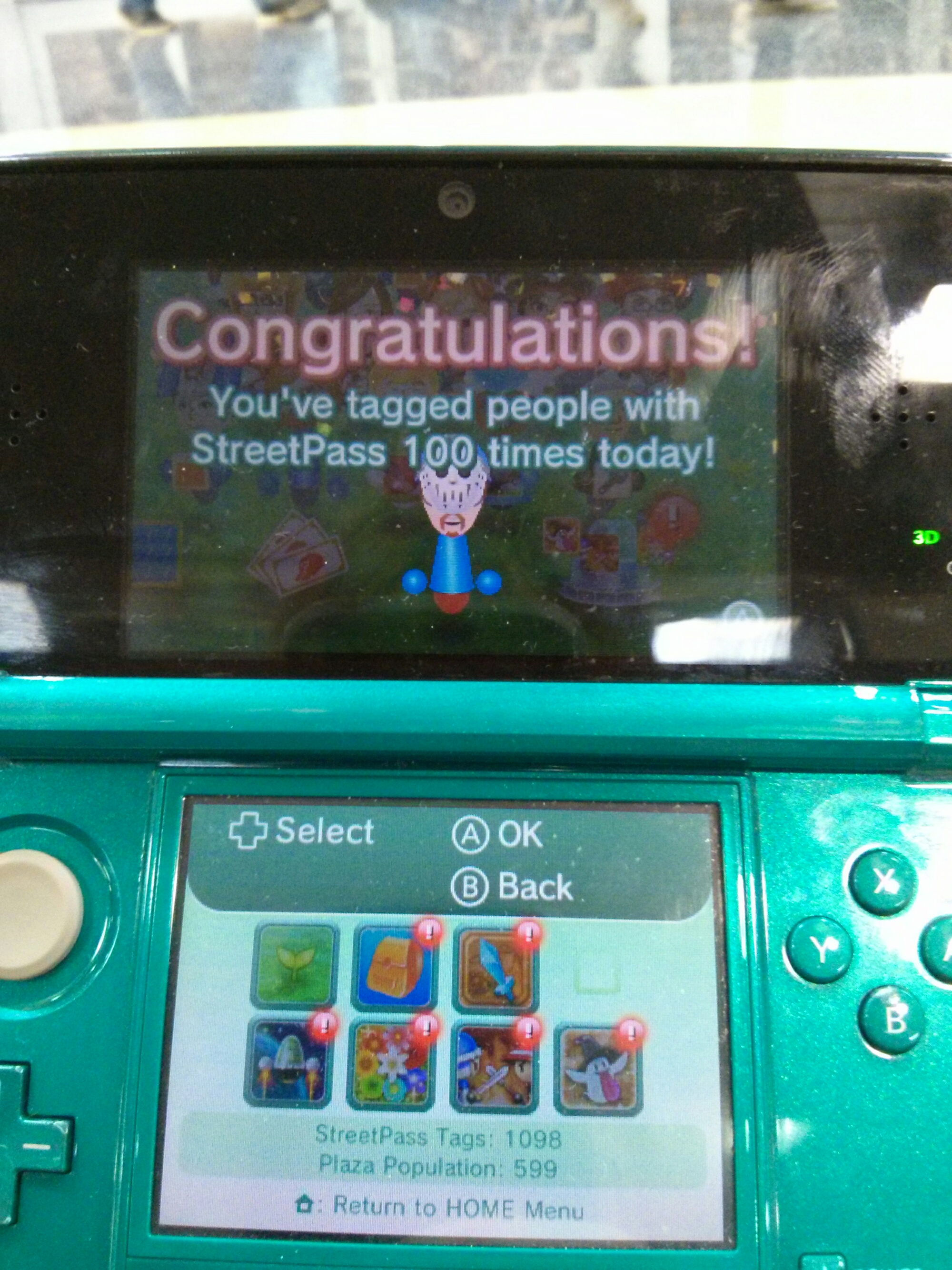image of 100 StreetPass tags in one day accomplishment